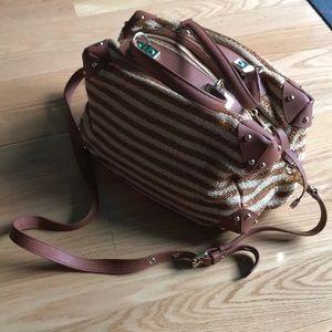 BADGLEY MISCHKA Woven Tote Crossbody Bag